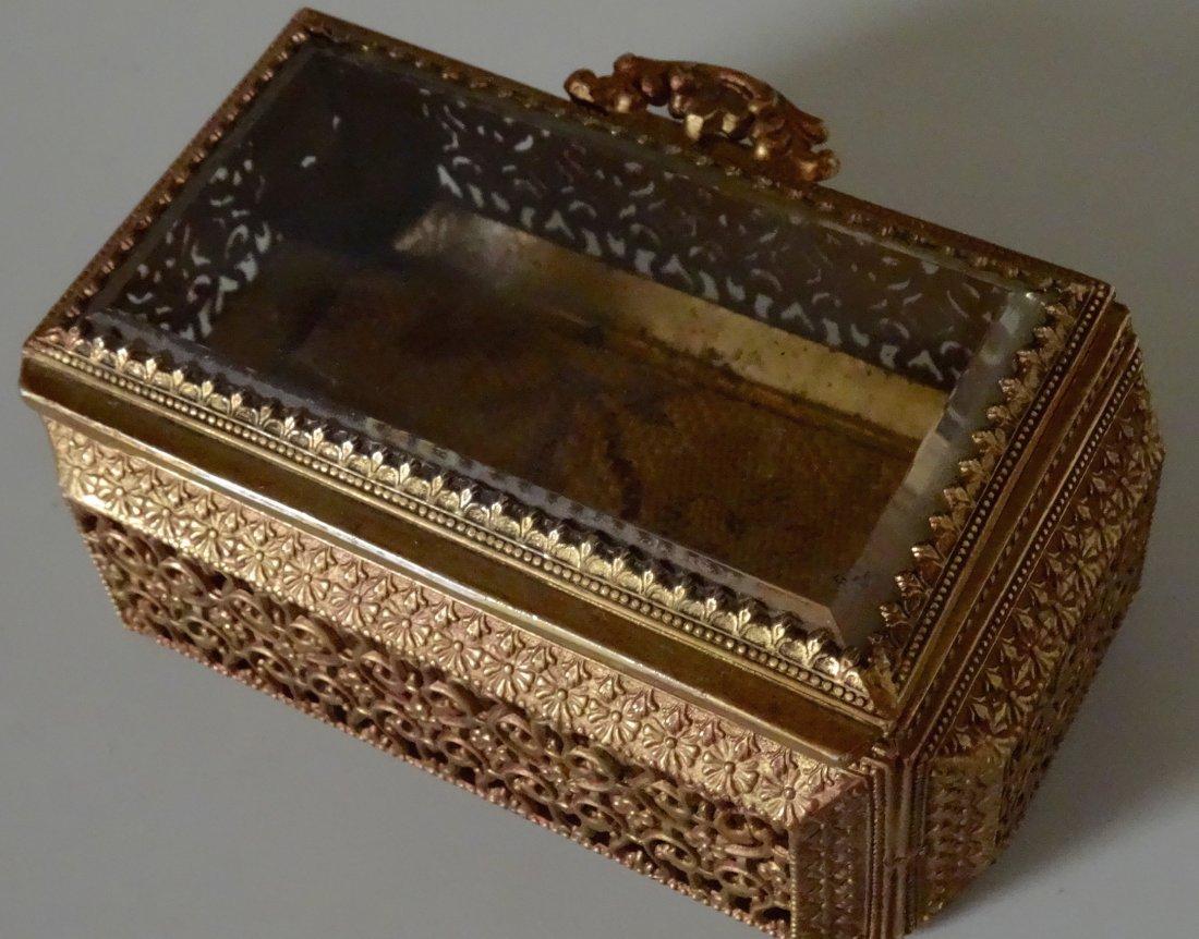 Vintage Jewelry Casket Ornate Metal Beveled Glass Lid - 2
