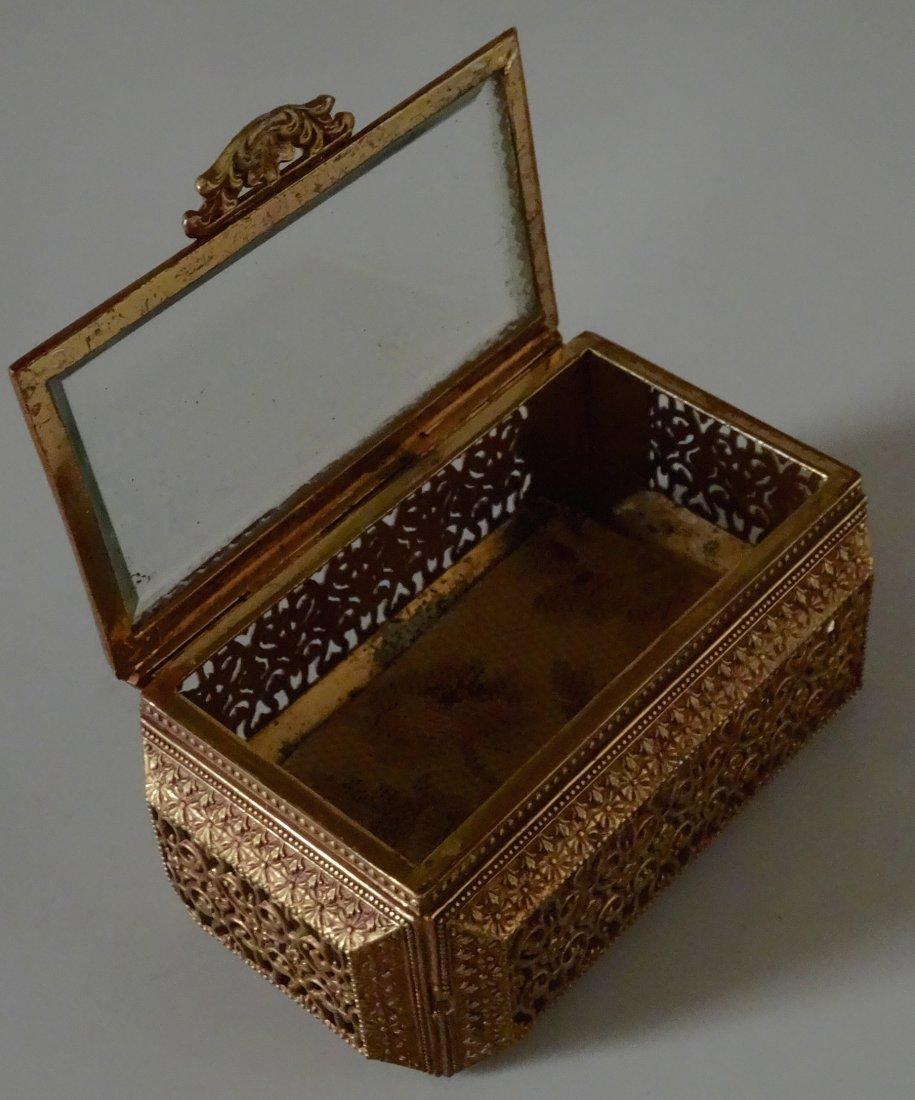 Vintage Jewelry Casket Ornate Metal Beveled Glass Lid - 4