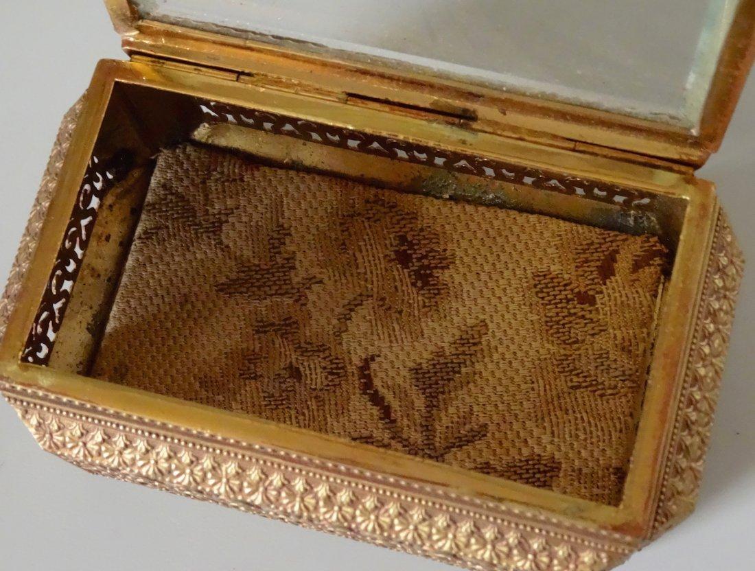 Vintage Jewelry Casket Ornate Metal Beveled Glass Lid - 5