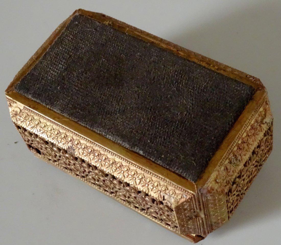 Vintage Jewelry Casket Ornate Metal Beveled Glass Lid - 6
