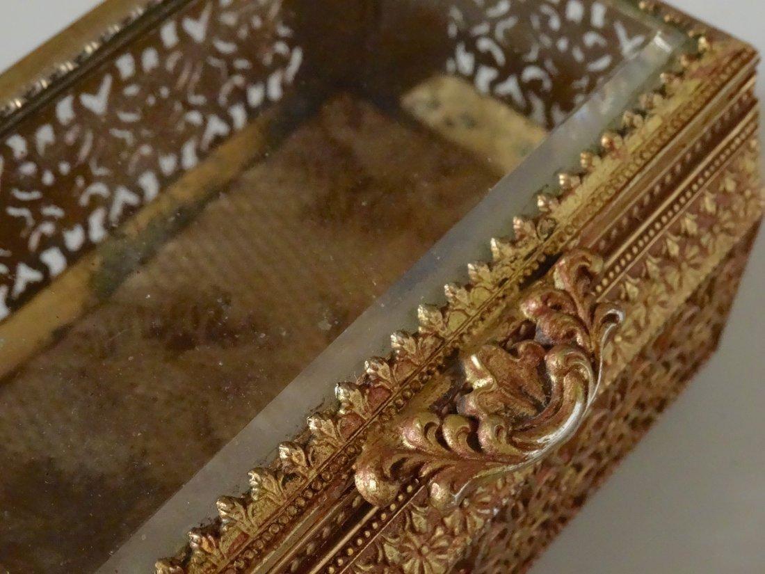 Vintage Jewelry Casket Ornate Metal Beveled Glass Lid - 7