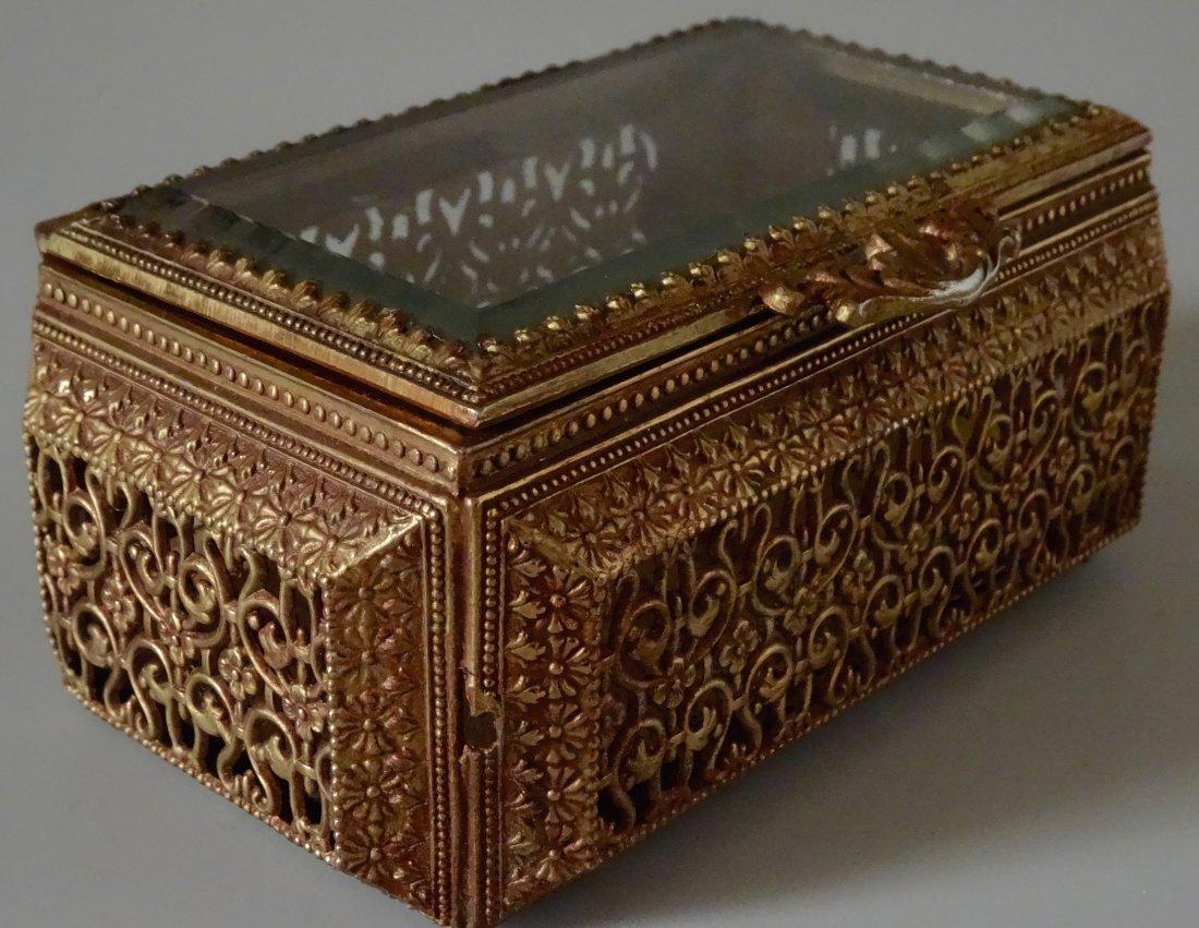 Vintage Jewelry Casket Ornate Metal Beveled Glass Lid - 8