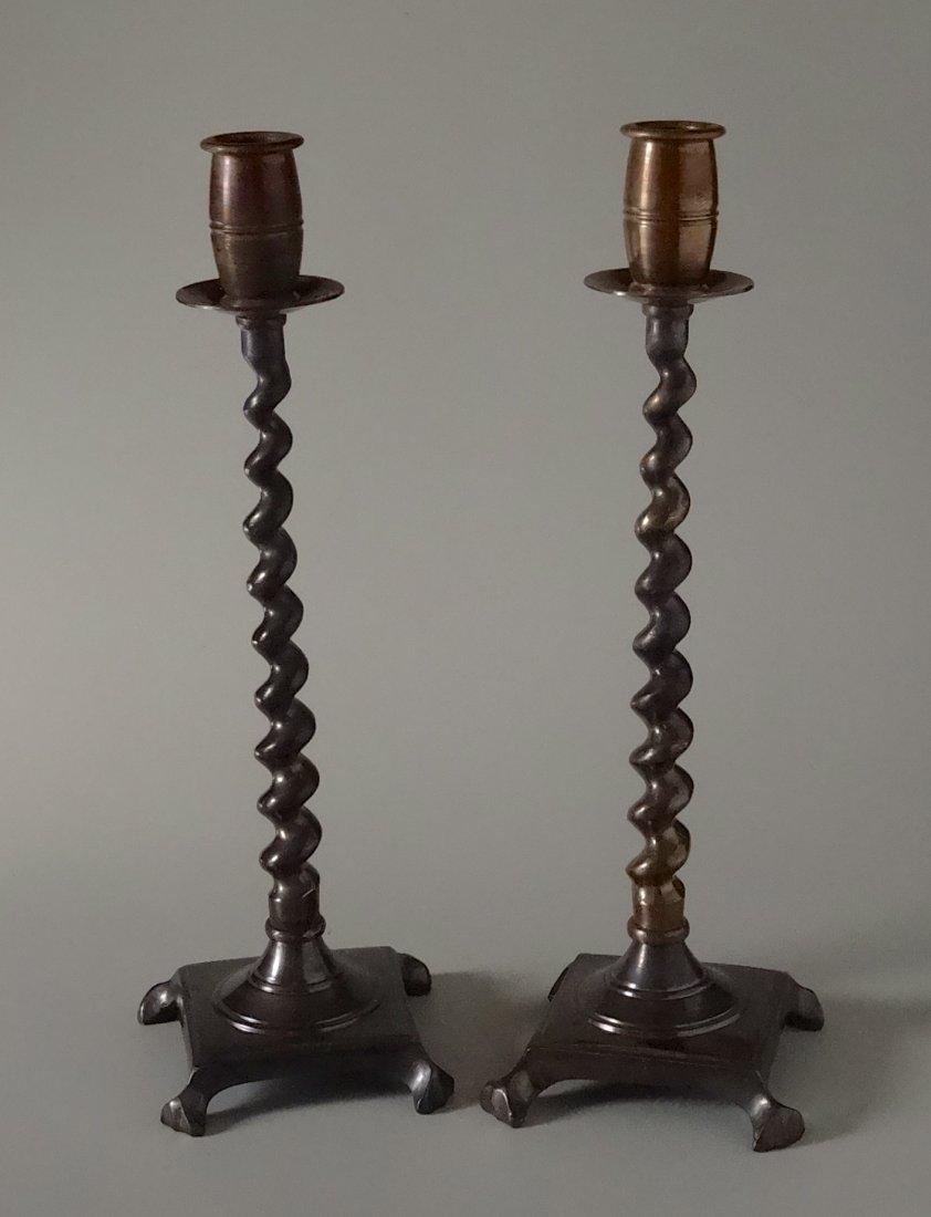 Barley Twist Brass Candle Sticks Candle Holder Pair