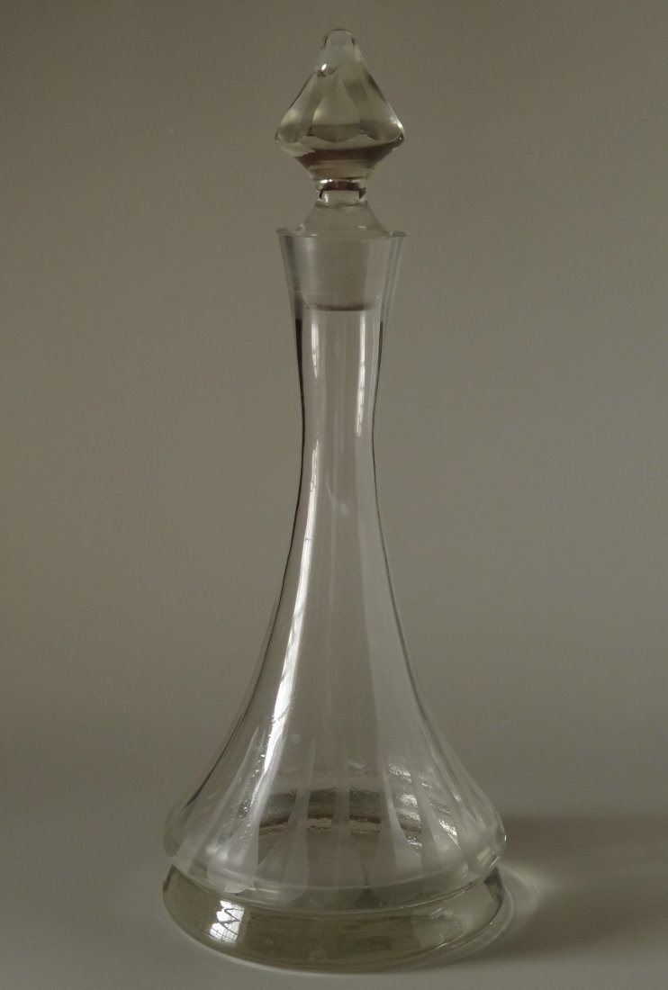 Very Large Art Deco Clear Glass Decanter Original - 2