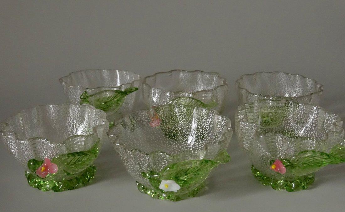Vintage Murano Art Glass Silver Specks Finger Bowl Lot - 2