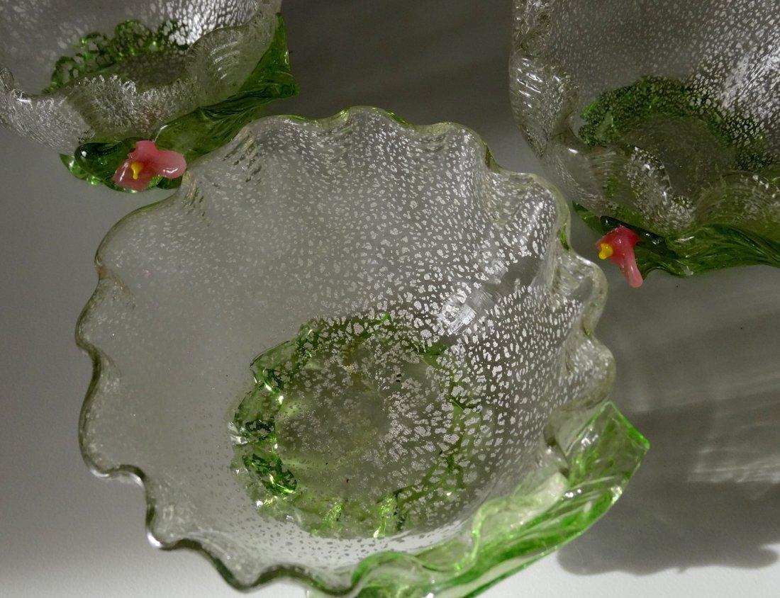 Vintage Murano Art Glass Silver Specks Finger Bowl Lot - 3