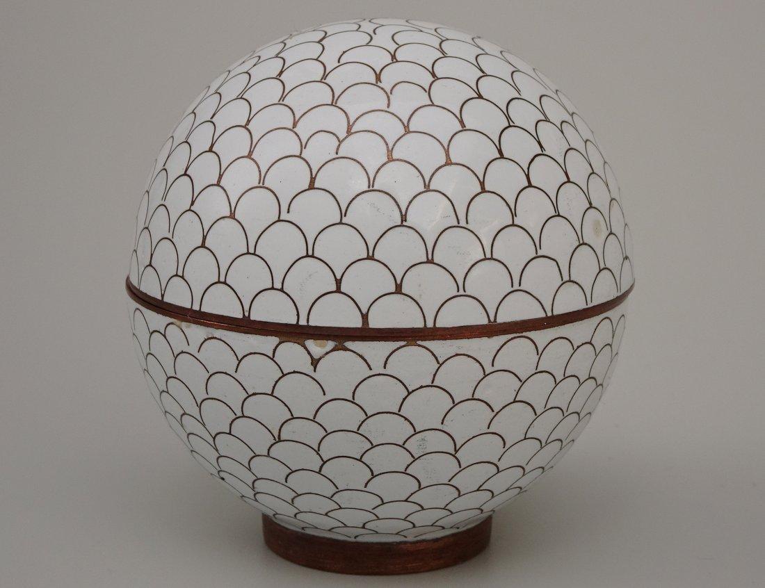 Chinese White Cloisonne Enamel Ball Trinket Box