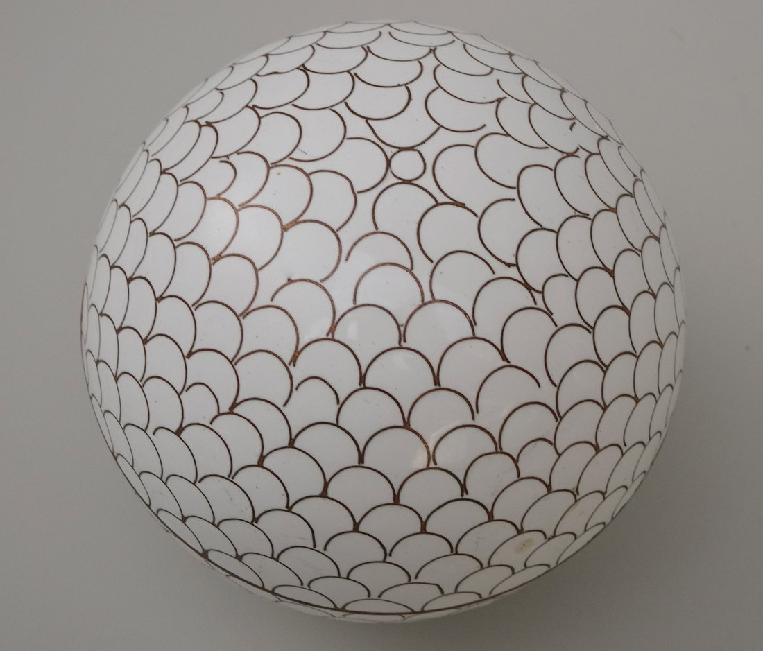 Chinese White Cloisonne Enamel Ball Trinket Box - 2