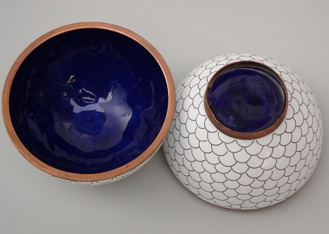 Chinese White Cloisonne Enamel Ball Trinket Box - 4