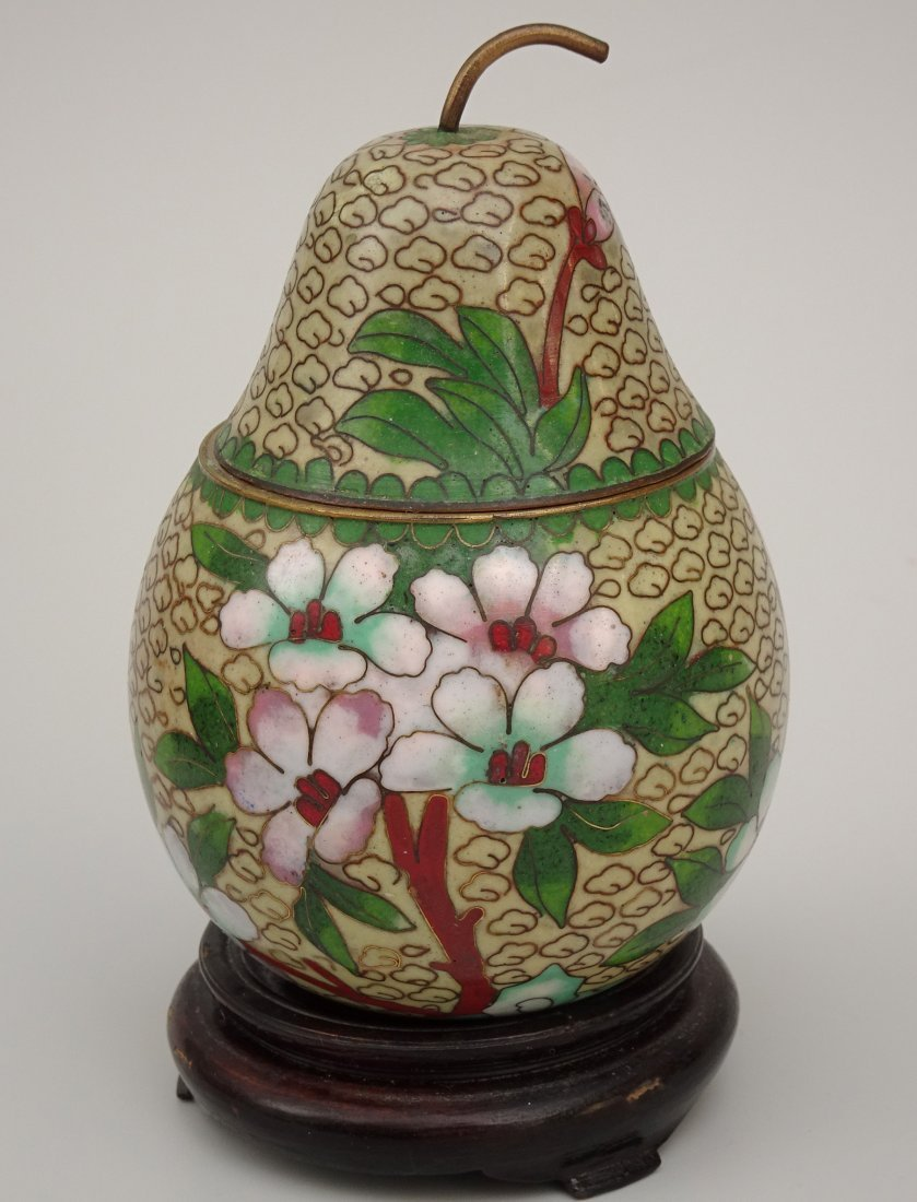 Cloisonne Enamel Pear Shaped Box on Carved Wooden Base