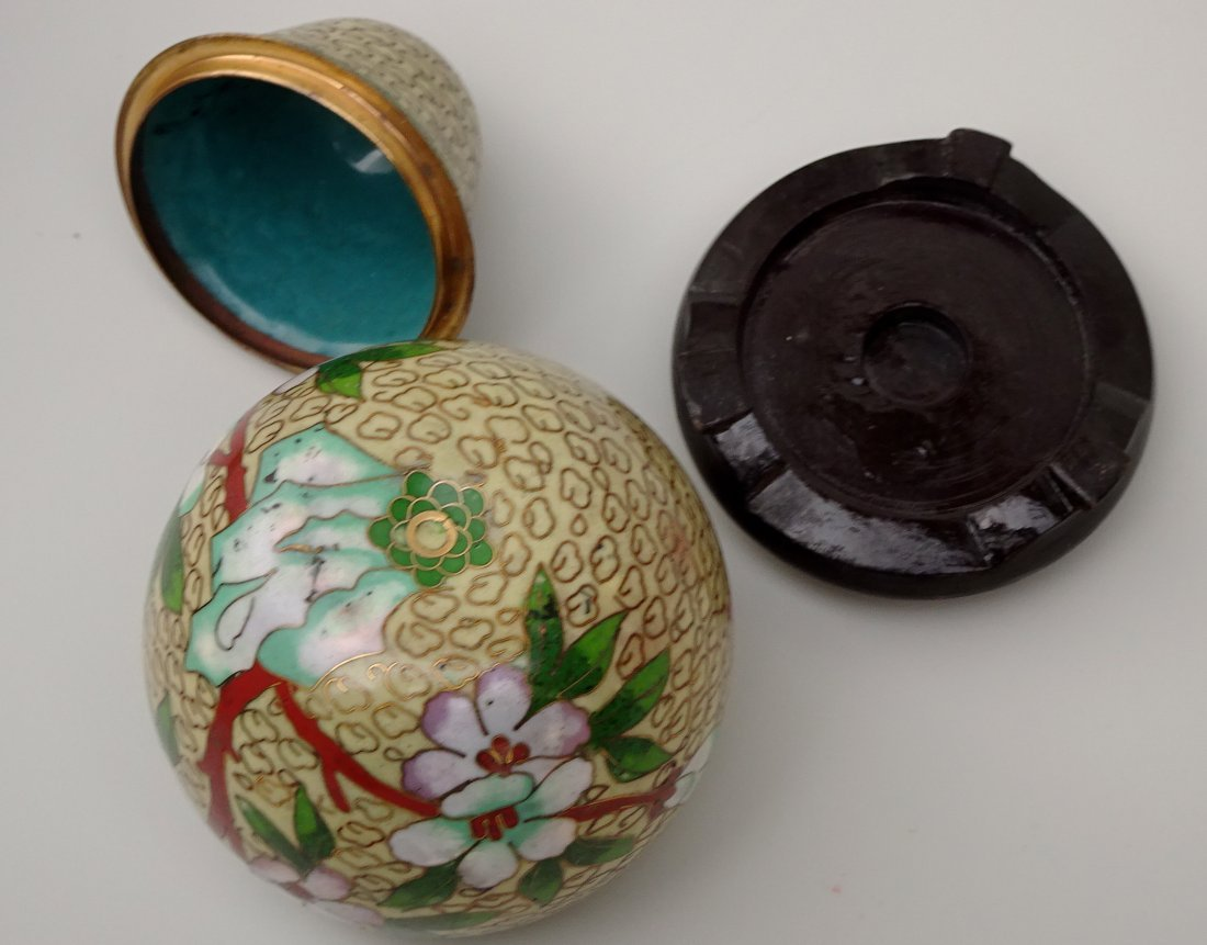 Cloisonne Enamel Pear Shaped Box on Carved Wooden Base - 5
