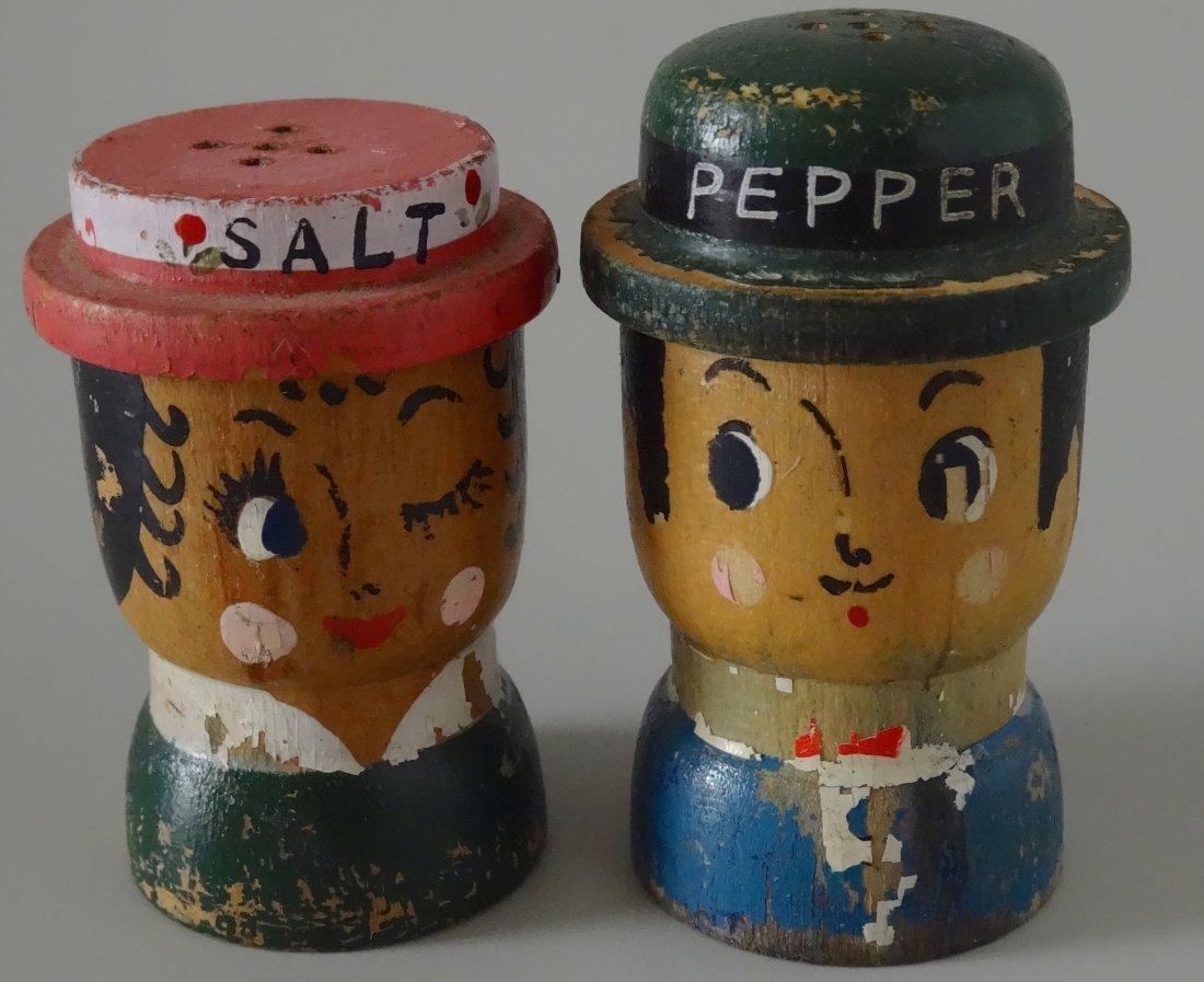 c. 1930 Turned Wood Hand Painted Salt Pepper Shakers
