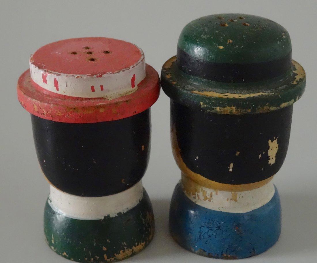 c. 1930 Turned Wood Hand Painted Salt Pepper Shakers - 2