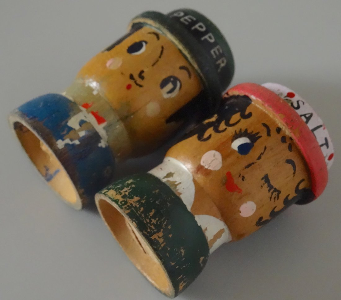 c. 1930 Turned Wood Hand Painted Salt Pepper Shakers - 4