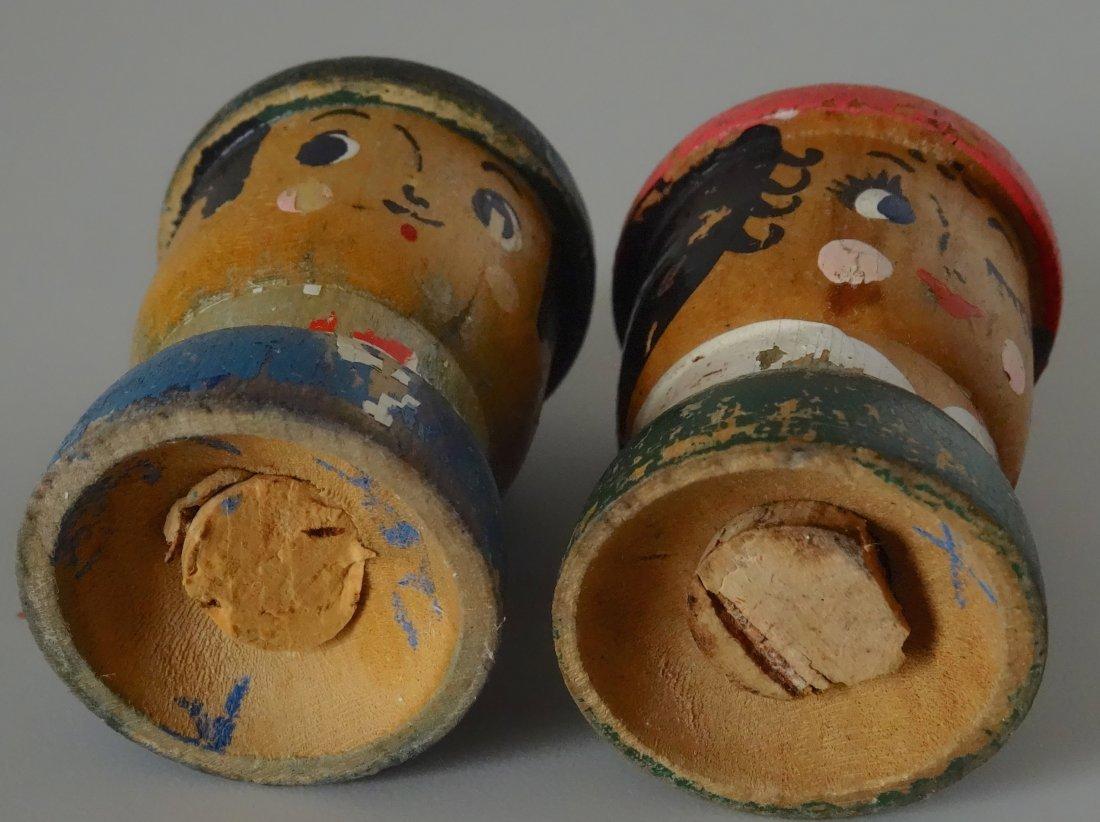 c. 1930 Turned Wood Hand Painted Salt Pepper Shakers - 5
