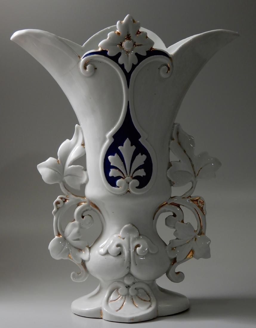 Old Paris Mantel Vase Cobalt Blue on White and Gold # 1