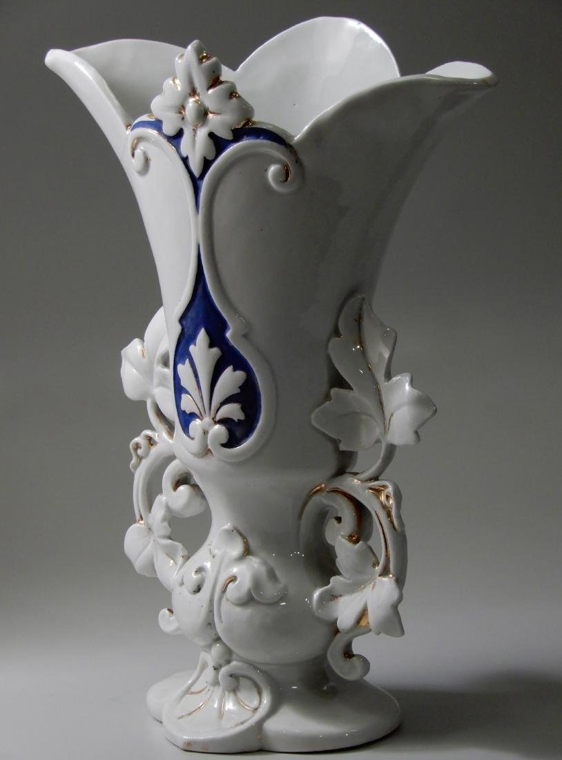 Old Paris Mantel Vase Cobalt Blue on White and Gold # 1 - 2