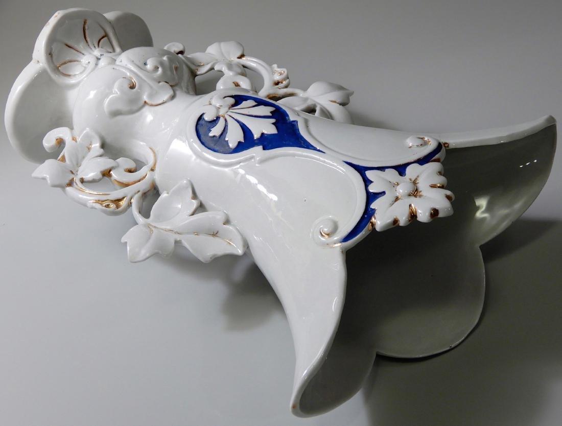 Old Paris Mantel Vase Cobalt Blue on White and Gold # 1 - 6
