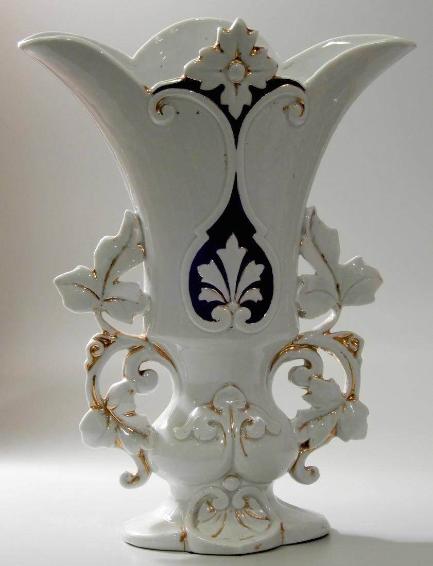 Vieux Paris Mid 19th Century Mantle Garniture Vase Old