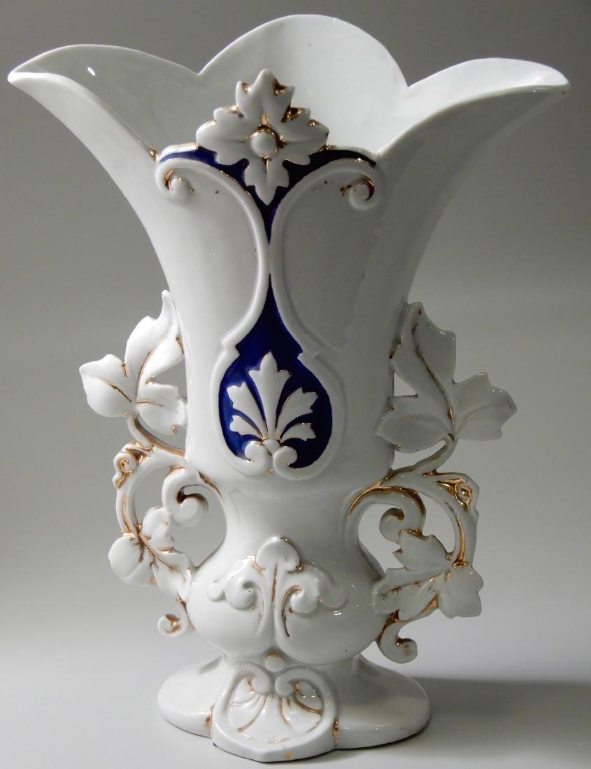 Vieux Paris Mid 19th Century Mantle Garniture Vase Old - 2
