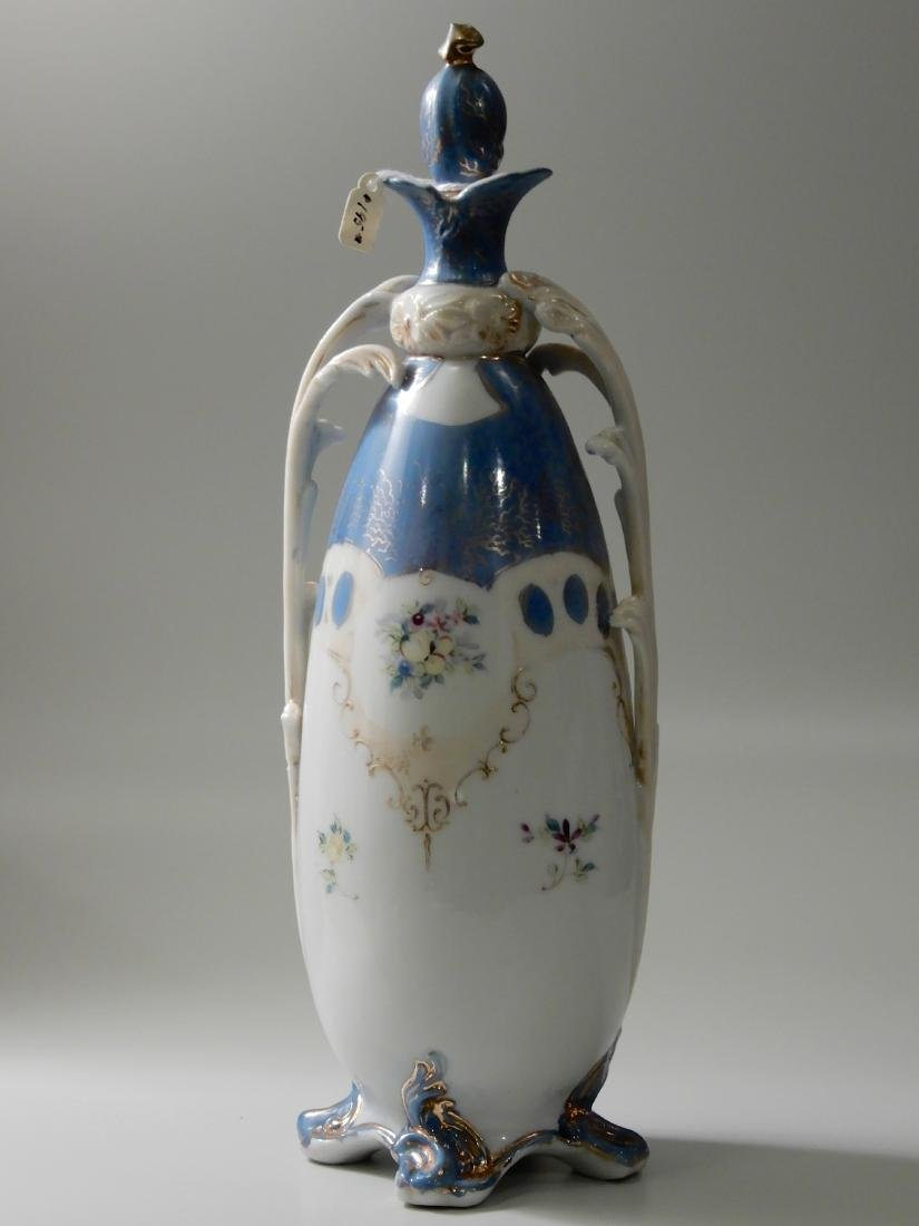 Unusual Art Nouveau Porcelain Bottle Vase with Stopper