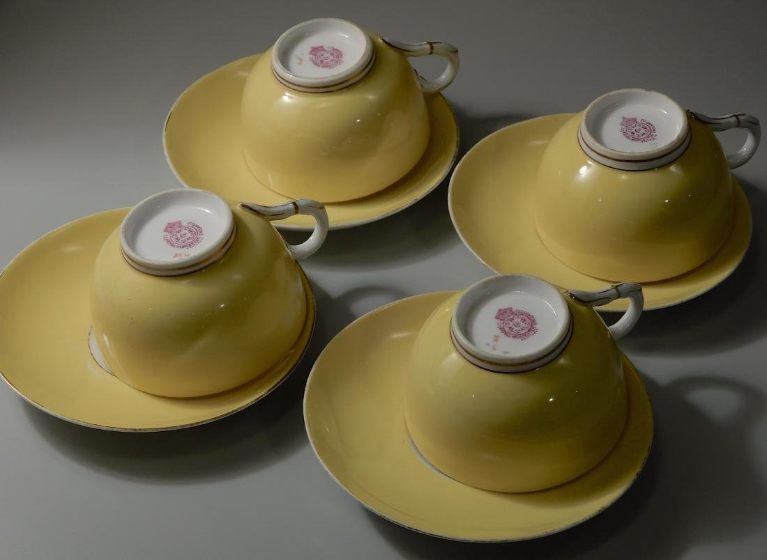 Royal Worchester Yellow English China Tea Cups and - 3