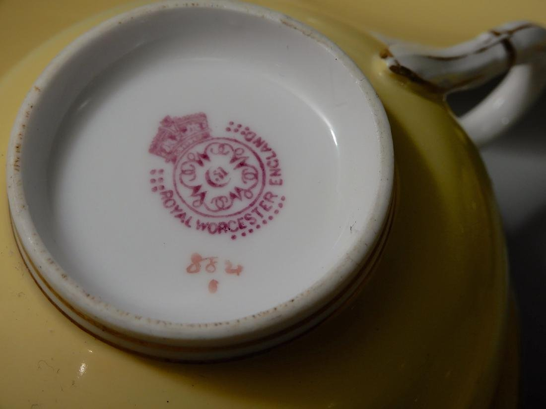 Royal Worchester Yellow English China Tea Cups and - 4