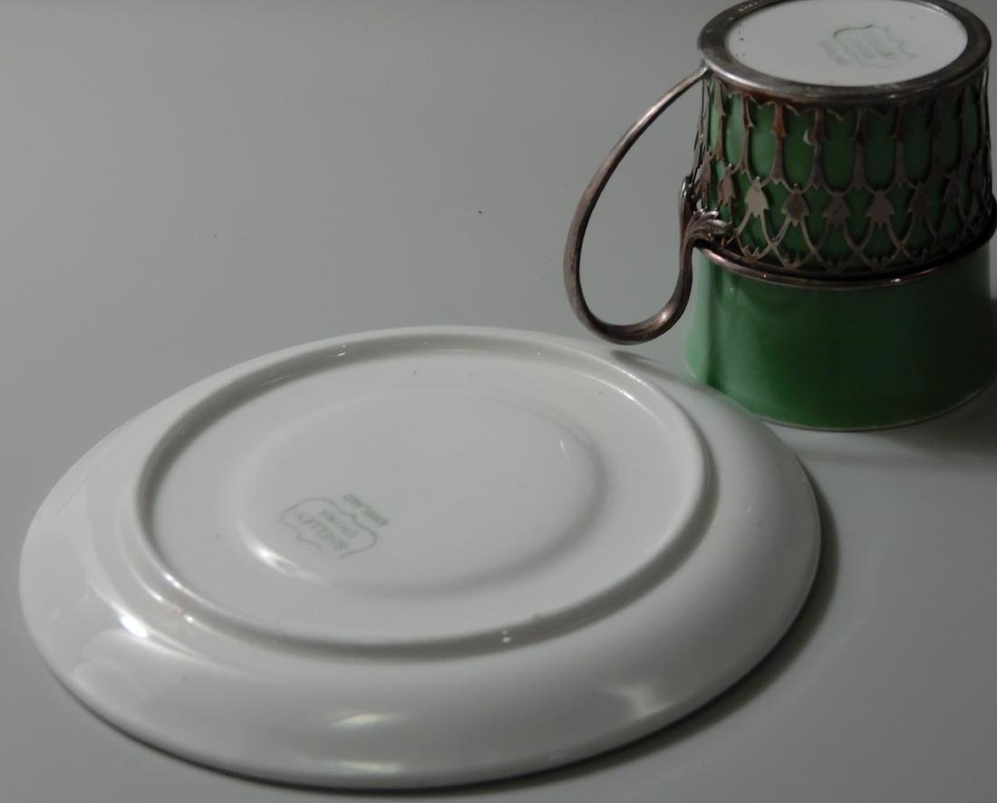 English Shelley Sterling Silver Holder Green China - 5
