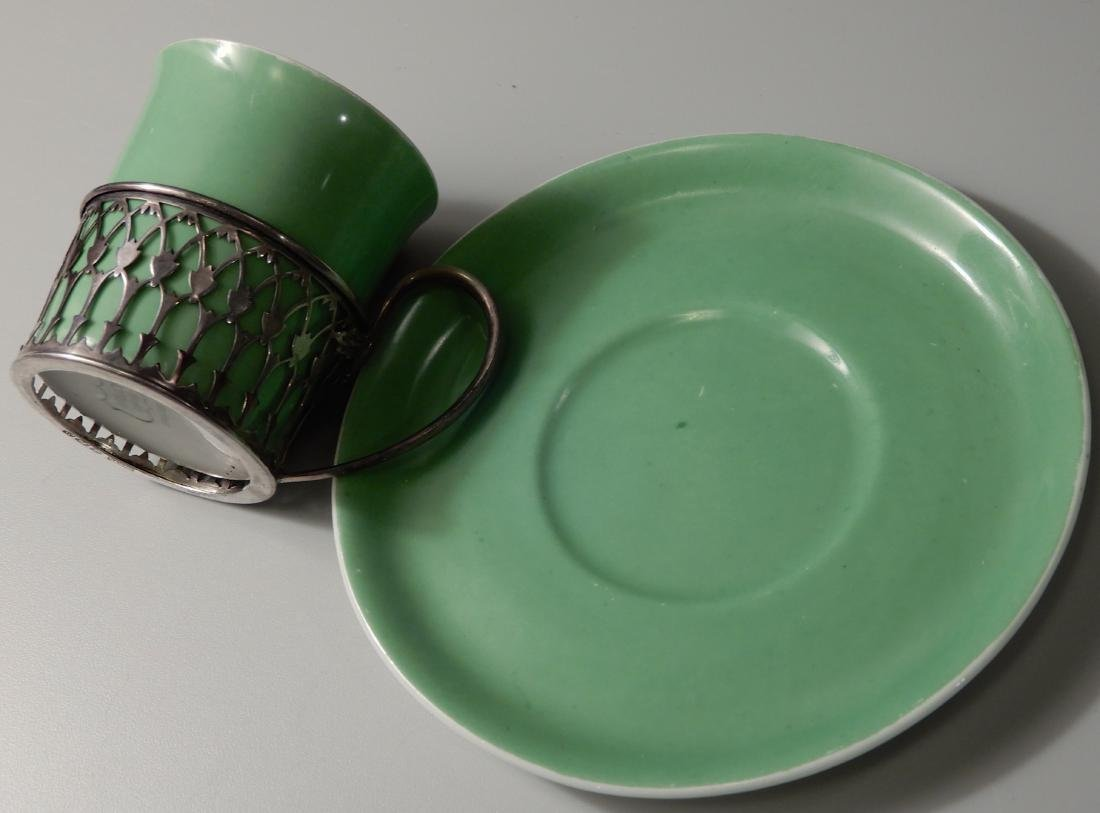 English Shelley Sterling Silver Holder Green China - 6