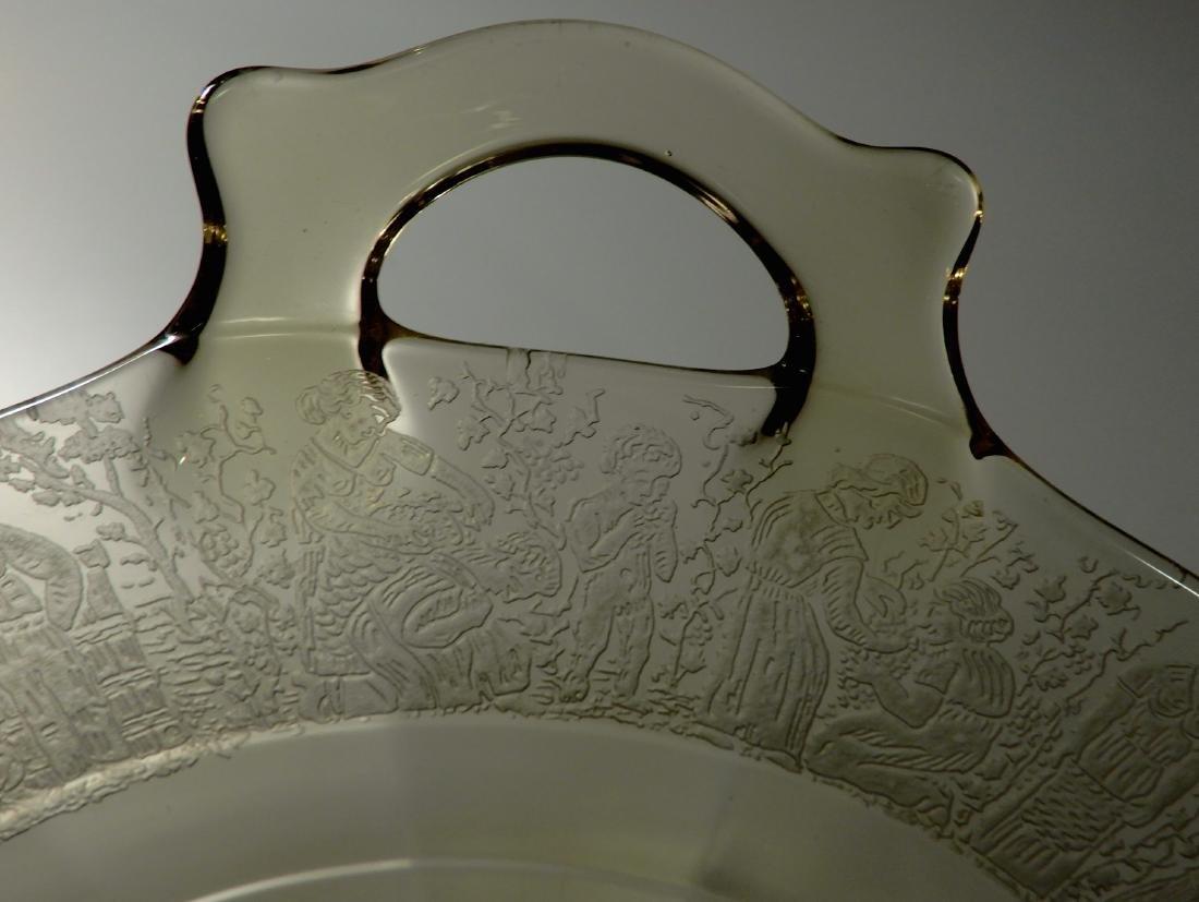 Rare Depression Glass Pattern Yellow Amber Tray Cake - 5