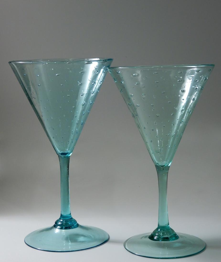 Art Deco Vintage Art Glass Blown Pontil Controlled - 8