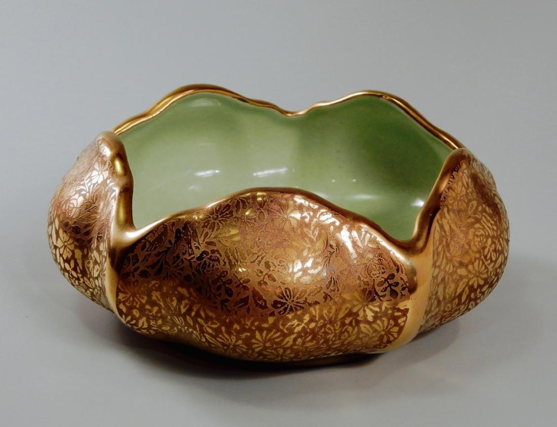 Wheeling Gold China Lotus Bowl Vintage c1920 Dish by