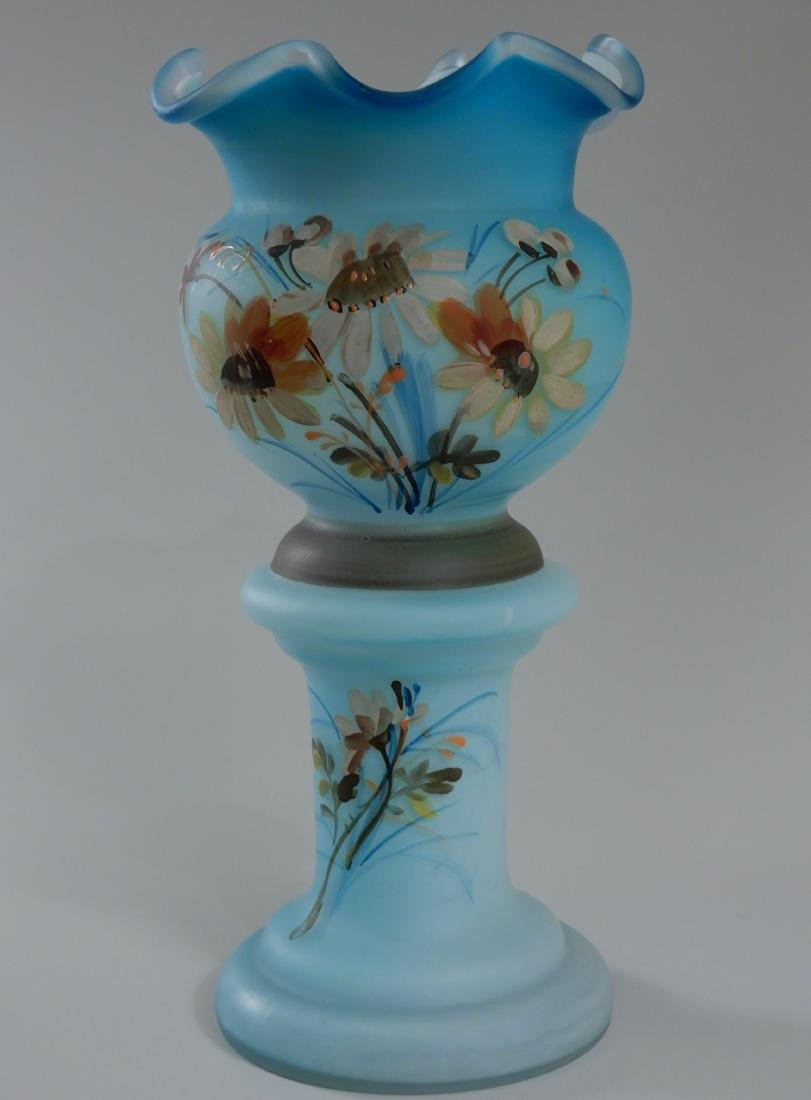 Antique Victorian Blue Satin Glass Vase Hand Painted