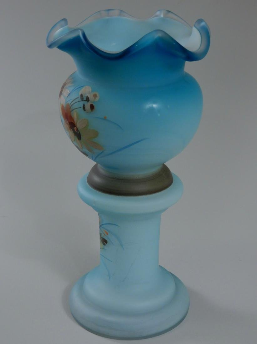 Antique Victorian Blue Satin Glass Vase Hand Painted - 2