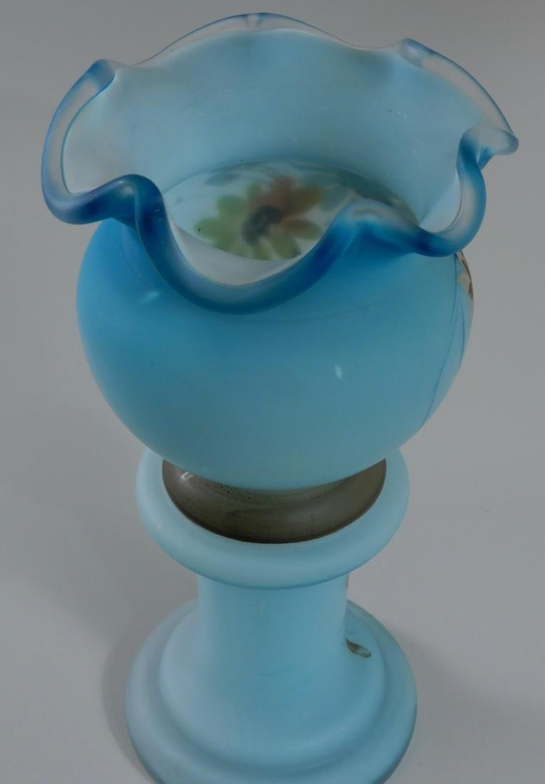 Antique Victorian Blue Satin Glass Vase Hand Painted - 3
