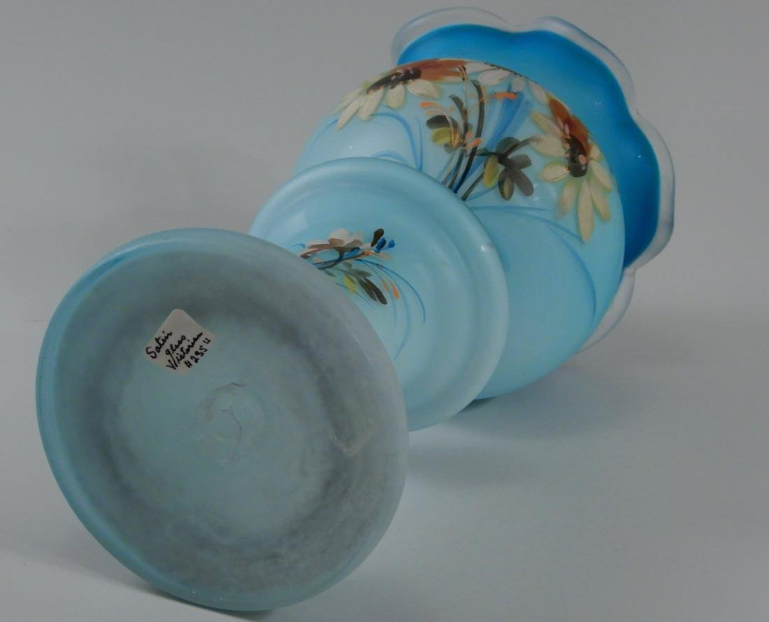 Antique Victorian Blue Satin Glass Vase Hand Painted - 6