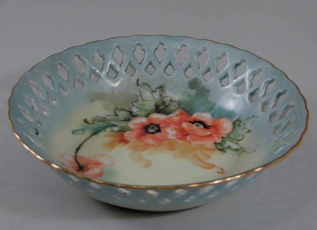Limoges Blank Pierced Border Painted Poppy Antique Bowl