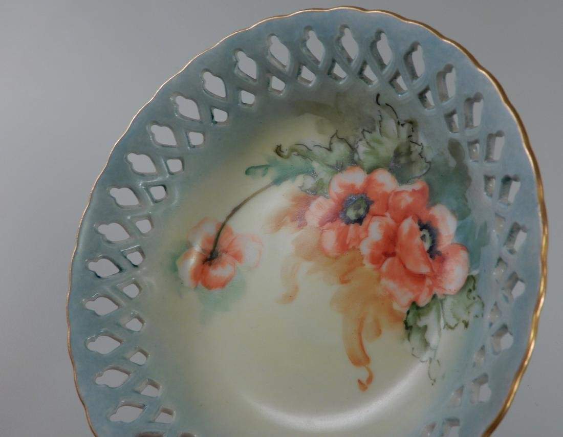 Limoges Blank Pierced Border Painted Poppy Antique Bowl - 3
