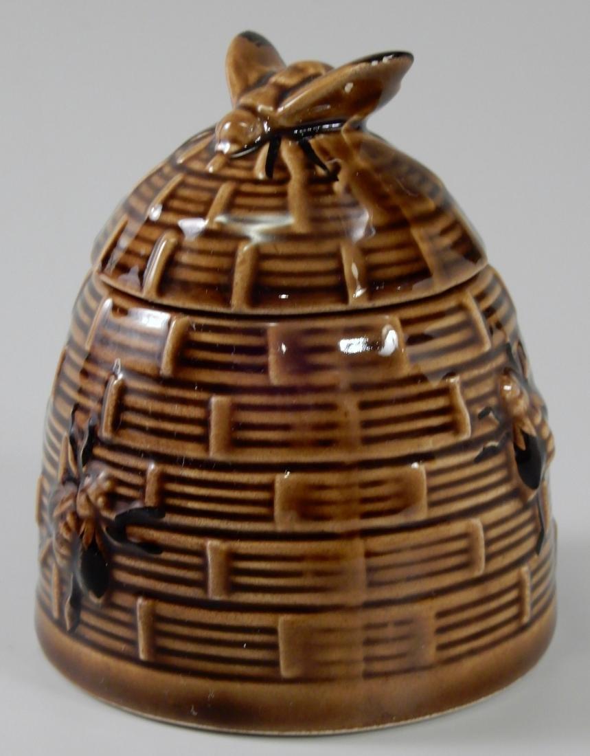 Bumble Bee Brown Glazed Beehive Lidded Honey Pot Jar