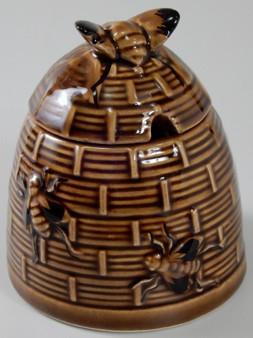 Bumble Bee Brown Glazed Beehive Lidded Honey Pot Jar - 2