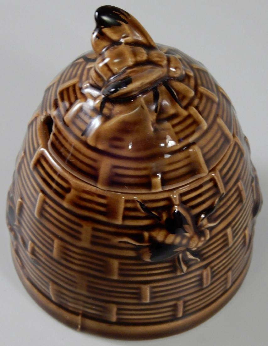 Bumble Bee Brown Glazed Beehive Lidded Honey Pot Jar - 3