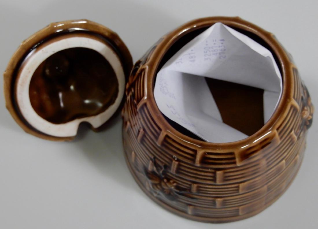 Bumble Bee Brown Glazed Beehive Lidded Honey Pot Jar - 4