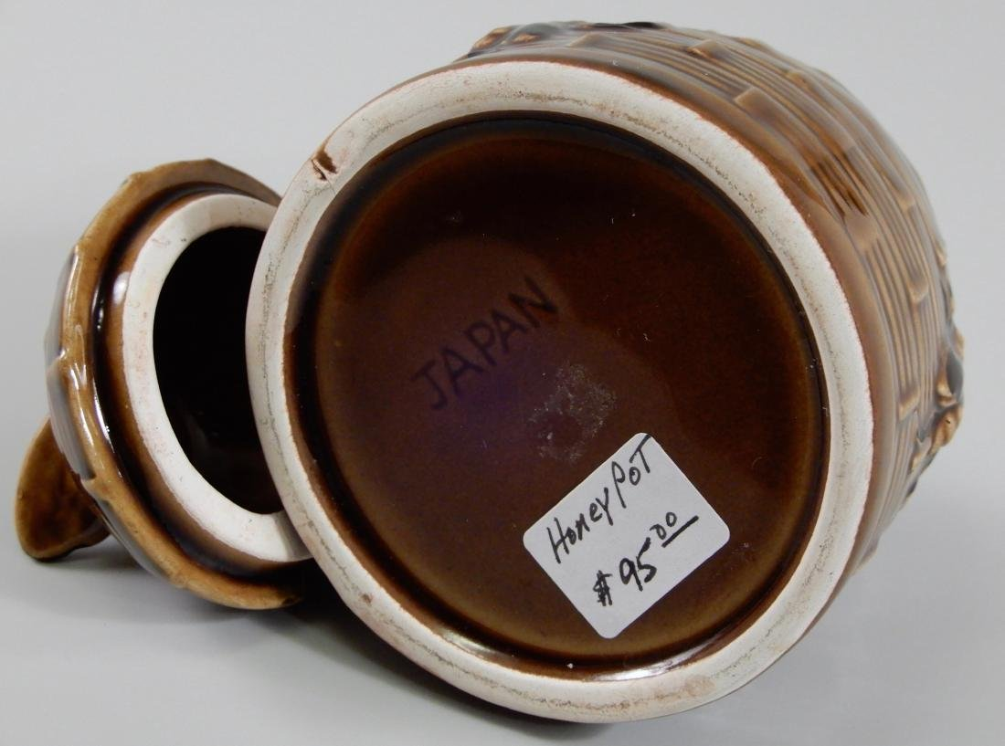 Bumble Bee Brown Glazed Beehive Lidded Honey Pot Jar - 5