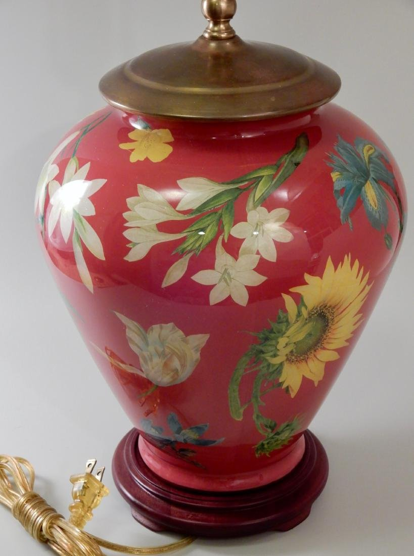 Colorful Flowers Designer Red Glass Table Lamp - 2