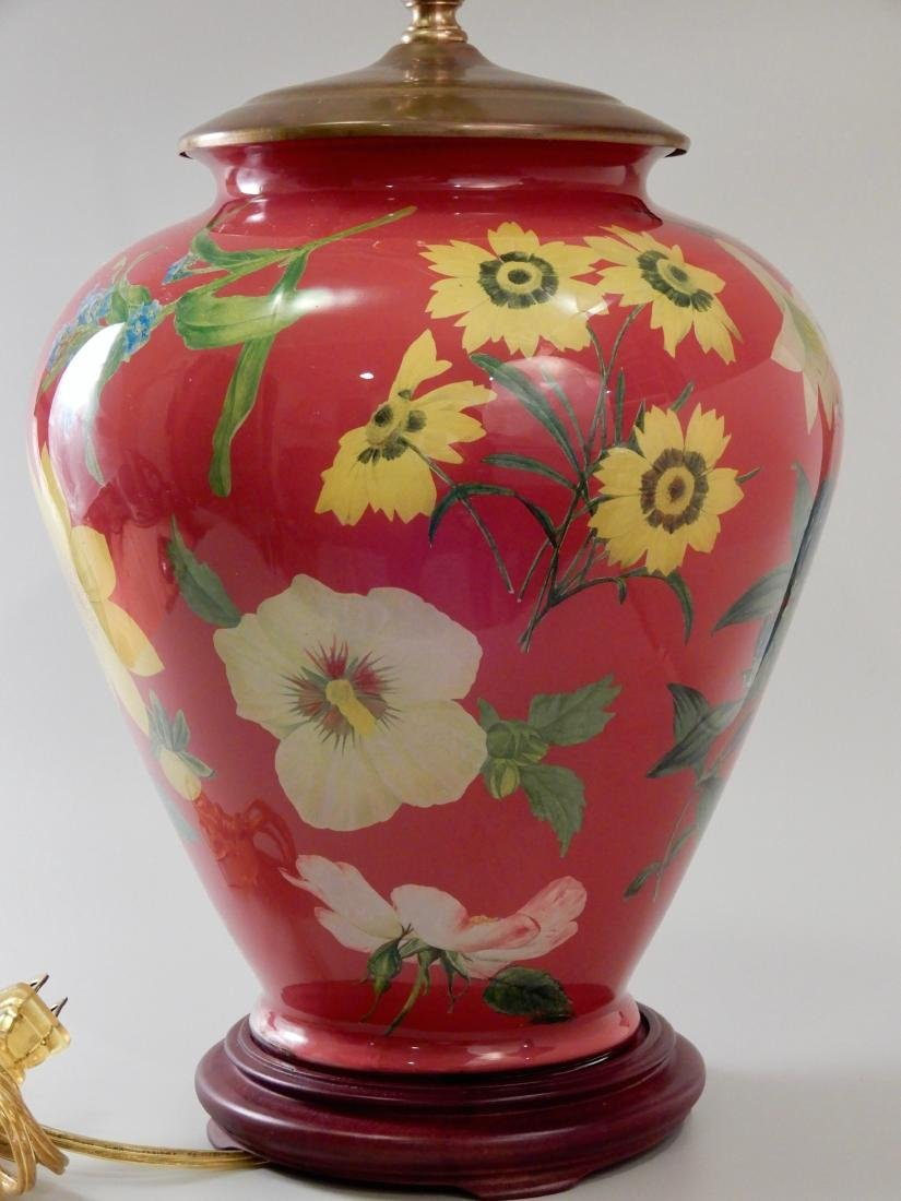 Colorful Flowers Designer Red Glass Table Lamp - 4