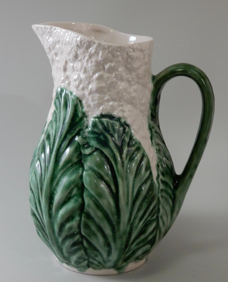 Green Glazed Majolica Cauliflower Cabbage Water Pitcher