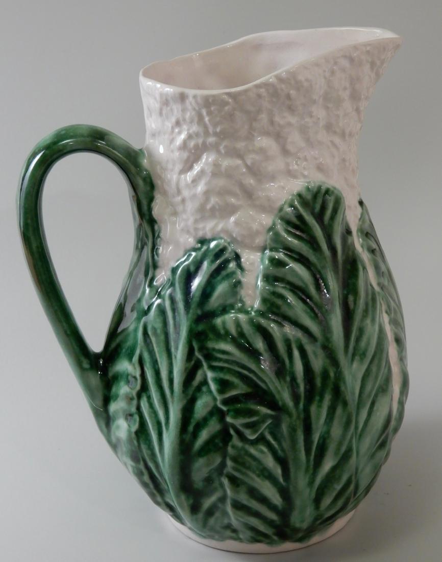 Green Glazed Majolica Cauliflower Cabbage Water Pitcher - 2