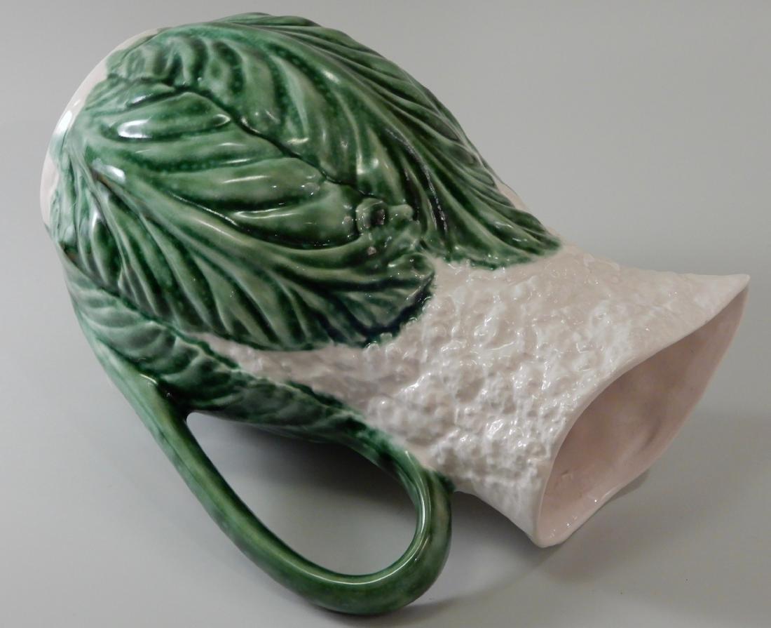 Green Glazed Majolica Cauliflower Cabbage Water Pitcher - 4