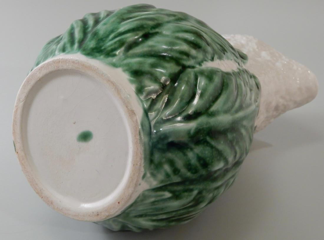 Green Glazed Majolica Cauliflower Cabbage Water Pitcher - 5