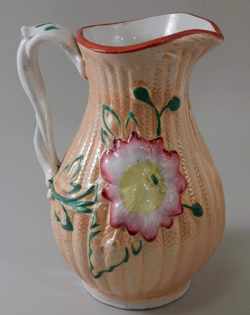 Antique English Pitcher Luster Glaze Majolica Twisted - 2